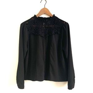 Guest Edition Floral Lace Long Slv Top High Neck